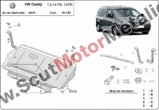 Scut motor metalic VW Caddy dupa 2010