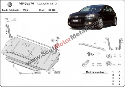 Scut motor metalic VW Golf 6 dupa 2010