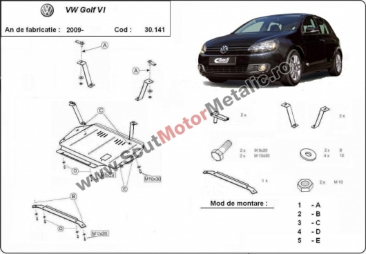 Scut motor metalic VW Golf 6 dupa 2009